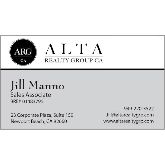 Business cards alta realty group newport beach area real estate reheart Choice Image
