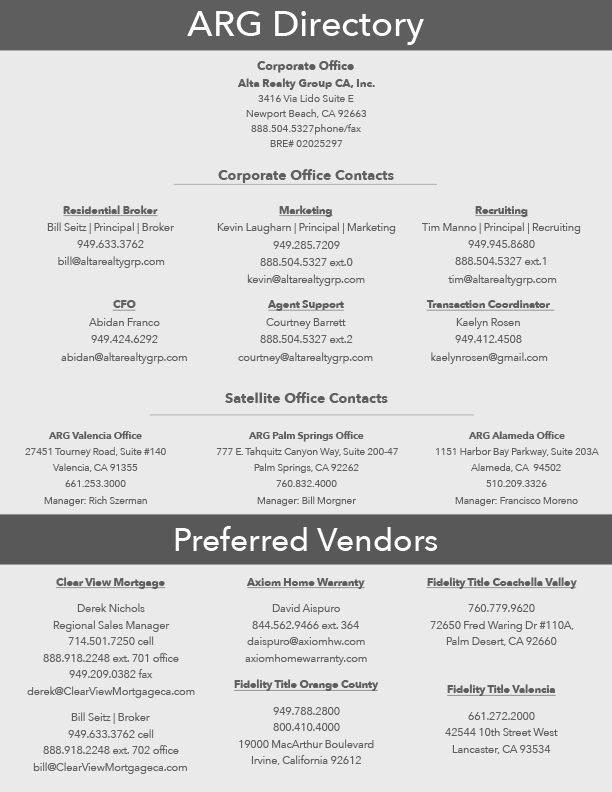 Directory & Preferred Vendor List